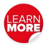 Autocollant de rouge de label d'en savoir plus Images libres de droits