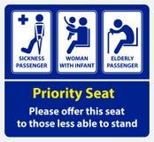 Autocollant de siège prioritaire employant dans le transport en commun, comme l'autobus, le train, le transit rapide de masse et  illustration stock