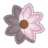Autocollant de silhouette avec l'icône rose de fleur florale Images stock