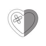 autocollant de silhouette monochrome de coeur avec le bandage adhésif Photos libres de droits