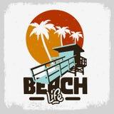 Autocollant de T-shirts d'annonces de promotion de Logo Sign Label Design For de palmiers de délivrance de Tower Station Beach de illustration libre de droits