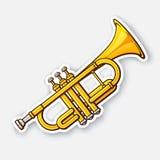 Autocollant de trompette d'instrument de vent de musique classique illustration stock