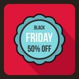 Autocollant de vente 50 pour cent outre d'icône, style plat illustration stock