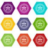 Autocollant de vente 50 pour cent outre de hexahedron réglé de couleur d'icône Photos stock
