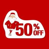 Autocollant de vente de vecteur Santa Claus et 50%  Photo libre de droits