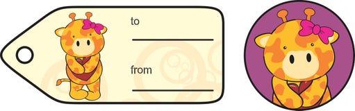 Autocollant doux de valentine de bande dessinée de girafe Photographie stock libre de droits