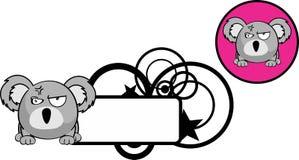 Autocollant fâché de copyspace d'expression de bande dessinée de koala de boule Photo stock