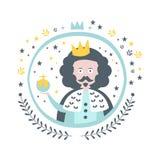 Autocollant Girly du Roi Fairy Tale Character dans le cadre rond Photos libres de droits