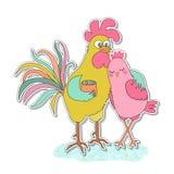 Autocollant mignon de coq et de poule Photo libre de droits