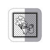 autocollant monochrome dans le cadre carré et pointillé avec tiré par la main des ménages mariés et des ballons des coeurs Photographie stock libre de droits
