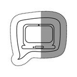 autocollant monochrome de découpe avec l'icône d'ordinateur portable dans le discours carré Image stock