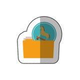 Autocollant moyen coloré d'ombre de dossier de Trojan Horse de virus Photographie stock libre de droits