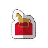 Autocollant moyen coloré d'ombre de Trojan Horse de virus de courrier Images stock