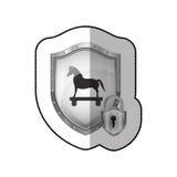 Autocollant moyen d'ombre de bouclier avec le Trojan Horse et le cadenas Photo libre de droits