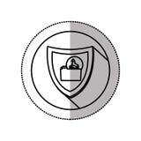 autocollant moyen monochrome d'ombre avec le cercle avec le dossier de Trojan Horse de bouclier Photographie stock