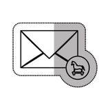 Autocollant moyen monochrome d'ombre de Trojan Horse de virus de courrier Photos stock