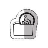 Autocollant moyen monochrome d'ombre de Trojan Horse de virus de dossier Image stock