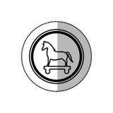 Autocollant moyen monochrome d'ombre de Trojan Horse en cercle Photo libre de droits