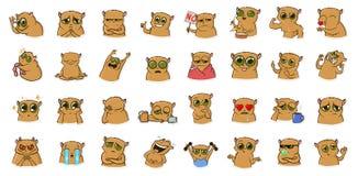 Autocollant pour le messager avec le caractère drôle de hamster Émoticônes, emoji pour des causeries Ensemble coloré d'autocollan illustration stock