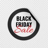 Autocollant rond de noir de vente de Black Friday avec les coins courbés sur le fond transparent, illustration de vecteur illustration de vecteur