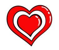Autocollant rouge de coeur du rétro style 80s comique Photo stock