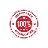Autocollant rouge grunge de garantie de dos d'argent ou calibre de timbre d'isolement illustration libre de droits