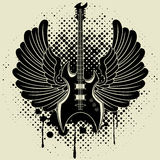 Autocollant sur la chemise l'image d'une guitare d'aile Photos stock