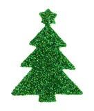 Autocollant vert d'arbre de Noël de scintillement sur un fond blanc Photographie stock libre de droits