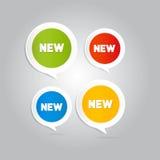 Autocollants, étiquettes, labels avec le nouveau titre Photos stock