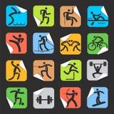 Autocollants avec des icônes de sport illustration de vecteur