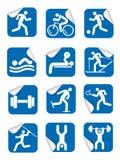 Autocollants avec des icônes de sport de forme physique illustration stock