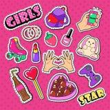 Autocollants, corrections et insignes de fille d'adolescent Griffonnage de mode de femme avec les mains, le rouge à lèvres et la  illustration libre de droits