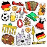 Autocollants d'album à voyage de l'Allemagne, corrections, insignes pour des copies avec la saucisse, drapeau, architecture et él Image stock