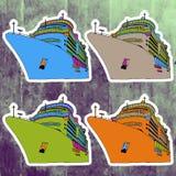 Autocollants d'art de bruit réglés Main dessinant la rétro croisière Photos libres de droits