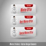Autocollants d'hiver d'affaires avec le bonhomme de neige Éléments de conception de vecteur Image stock
