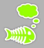 Autocollants d'os de poissons de vert de Thinkink Photo stock