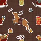 Autocollants de carton pour Noël Cerfs communs et cadeaux Photos libres de droits
