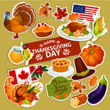Autocollants de décoration de symboles de thanksgiving réglés Photos libres de droits