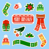 Autocollants de Noël réglés Autocollants de substance d'enfants d'hiver réglés illustration de vecteur