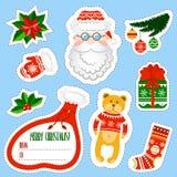 Autocollants de Noël réglés Ensemble d'éléments de Santa Claus illustration de vecteur
