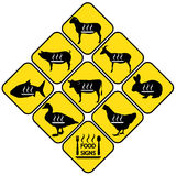 Autocollants de signes de viande réglés Image stock