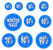 Autocollants de vente d'hiver avec le flocon de neige. illustration stock