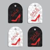 Autocollants de vente réglés pour des chaussures de femmes Images stock
