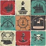 Autocollants de vintage de navigation illustration stock