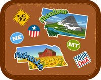 Autocollants de voyage du Montana, Nébraska avec les attractions scéniques illustration de vecteur