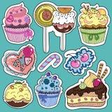 autocollants des gâteaux et des bonbons Photo stock