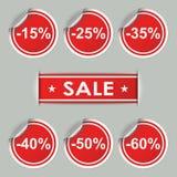 Autocollants et étiquettes de vente avec des remises Photo stock