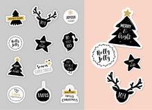 Autocollants et corrections d'hiver de Noël avec le lettrage Image libre de droits