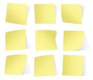 Autocollants jaunes sur le vecto blanc de fond Photographie stock