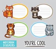 Autocollants mignons de carnet d'animaux illustration de vecteur